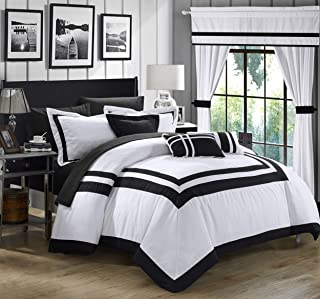 Chic Home Ritz 20 Piece Comforter Set Color Block Bed in a Bag with Sheets Curtains, King, White