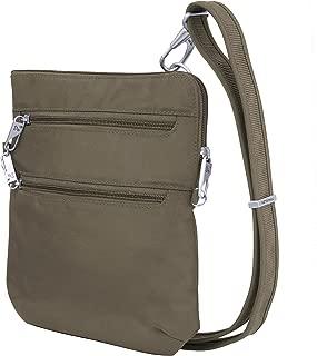Anti-theft Classic Slim Dbl Zip Crossbody Bag, Nutmeg