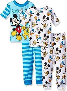 Disney Mickey Mouse - Juego de Pijama de 4 Piezas de algodón, diseño de Mickey Mouse, Color Rojo