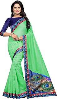 Shreeji Women's Chanderi Cotton Saree With Blouse