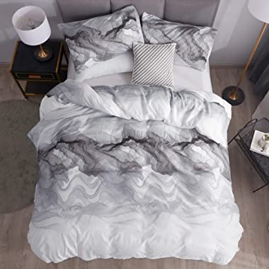 LAMEJOR Duvet Cover Set Queen Size Abstract Style Modern Marble Pattern Luxury Soft Bedding Set Comforter Cover (1 Duvet Cover+2 Pillowcases) White
