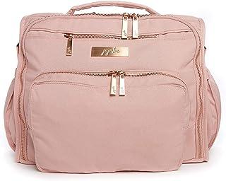 JuJuBe BFF Diaper Backpack | Blush | Chromatics | Multi-Functional Convertible + Messenger Bag | Travel-Friendly, Stylish Diaper Baby Bag with Laptop Pocket & Memory Foam Shoulder Strap