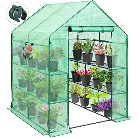 EAGLE PEAK Mini Walk-in Greenhouse 2 Tiers 8 Shelves with Roll-up Zipper Door and 2 Side Mesh Windows, Outdoor Indoor Portable Gardening Plant House 57'' x 57'' x 77'' , Green