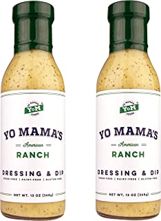 Gourmet Keto Ranch Dressing and Dip by Yo Mama's Foods | Pack of (2) 13 Ounce Bottles - Dairy Free, Gluten Free, and All Natural!