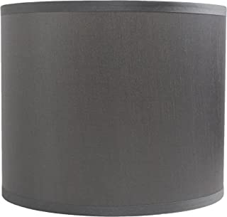 Urbanest Faux Silk Drum Lampshade, 12-inch by 12-inch by 10-inch, Gray, Spider Fitter