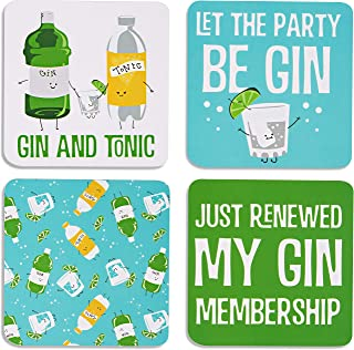 """Pavilion Gift Company Gin & Tonic Sentiment, Pattern and Character Holder 4"""" (4 Piece) Coaster Set with Box, 4 Inch Squar..."""