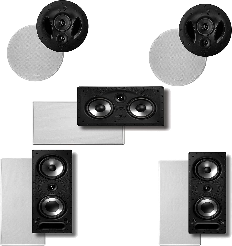 Polk Audio Vanishing RT Series 5.0 High Performance in-Wall/in-Ceiling Home Theater Speaker System (2-90RT, 2-265RT & 1-255CRT)