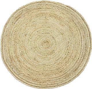 Handgewebter runder Jute Teppich 120 cm Teppich Abril Natur   Outdoor Teppiche Rund geflochten für Garten oder Balkon   Indoor im Wohnzimmer Kinderzimmer   Mediterrane Deko für Ihre Wohnung