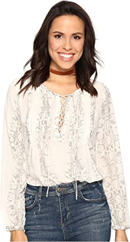 Lucky Brand - Lace-Up Metallic Top