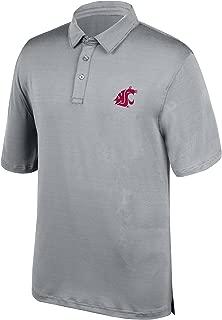 J America NCAA Men's Washington State Cougars Yarn Dye Striped Team Polo Shirt, Medium, Cement