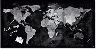 Sigel Contemporary Magnetic Glass Board, World Map, 36