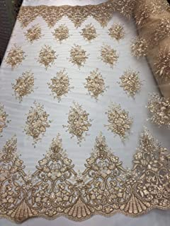 Floral Pattern Embroidery Lace Fabric with Tiny Sequins - Champagne - Design Embroided Lace Gorgeous Mesh Fabrics Sold by The Yard