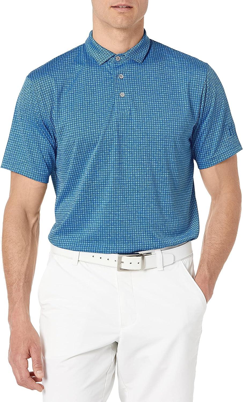 PGA TOUR Men's Max 87% OFF Mini Windowpane Golf Polo Sleeve Shirt shop Short