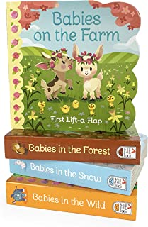4 Pack Chunky Lift-a-Flap Baby Animals Board Books: Babies on the Farm, Babies in the Forest, Babies in the Wild, Babies in the Snow