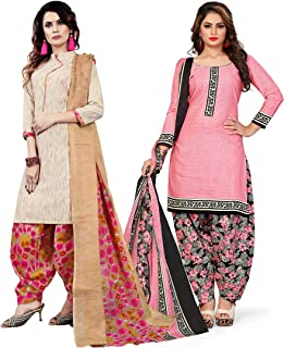 Rajnandini Women's Beige and Light Pink Cotton Printed Unstitched Salwar Suit Material (Combo Of 2) (Free Size)