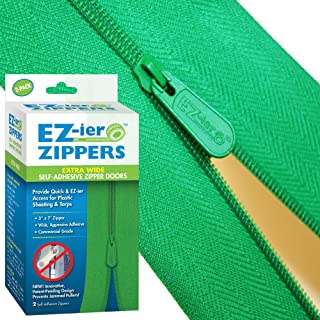 EZ-ier Products Heavy Duty Adhesive Zippers (2 Pack), Commercial Grade, 3