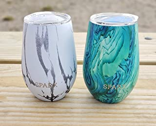 SPARX 12oz Wine Tumbler Glasses with Lid (SET OF 2)- Vacuum Insulated Stemless 18/8 Stainless Steel Wine Cup Pattern