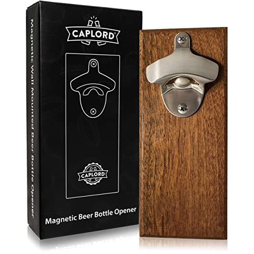 Wall Mount Bottle Opener With Embedded Magnetic Cap Catcher In Solid Wood Fridge Mountable By