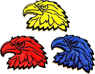 Nipitshop Patches Set 3 Pcs Yellow Red Blue Head Eagle Eagle Animal Wildlife Hawk Eagle Head Motorcycles Embroidered Iron on Patch for Clothes Backpacks T-Shirt Jeans Skirt Vests Scarf Hat Bag