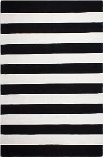 Fab Habitat, Indoor/Outdoor Floor Rug - Handwoven, Made from Recycled Plastic Bottles - Nantucket Black & White (3' x 5')