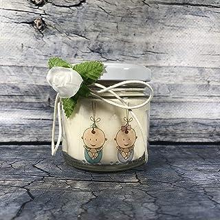 Bomboniera Battesimo o Nascita Gemelli - 25 o più candele di cera di soia e oli essenziali con scritte personalizzate