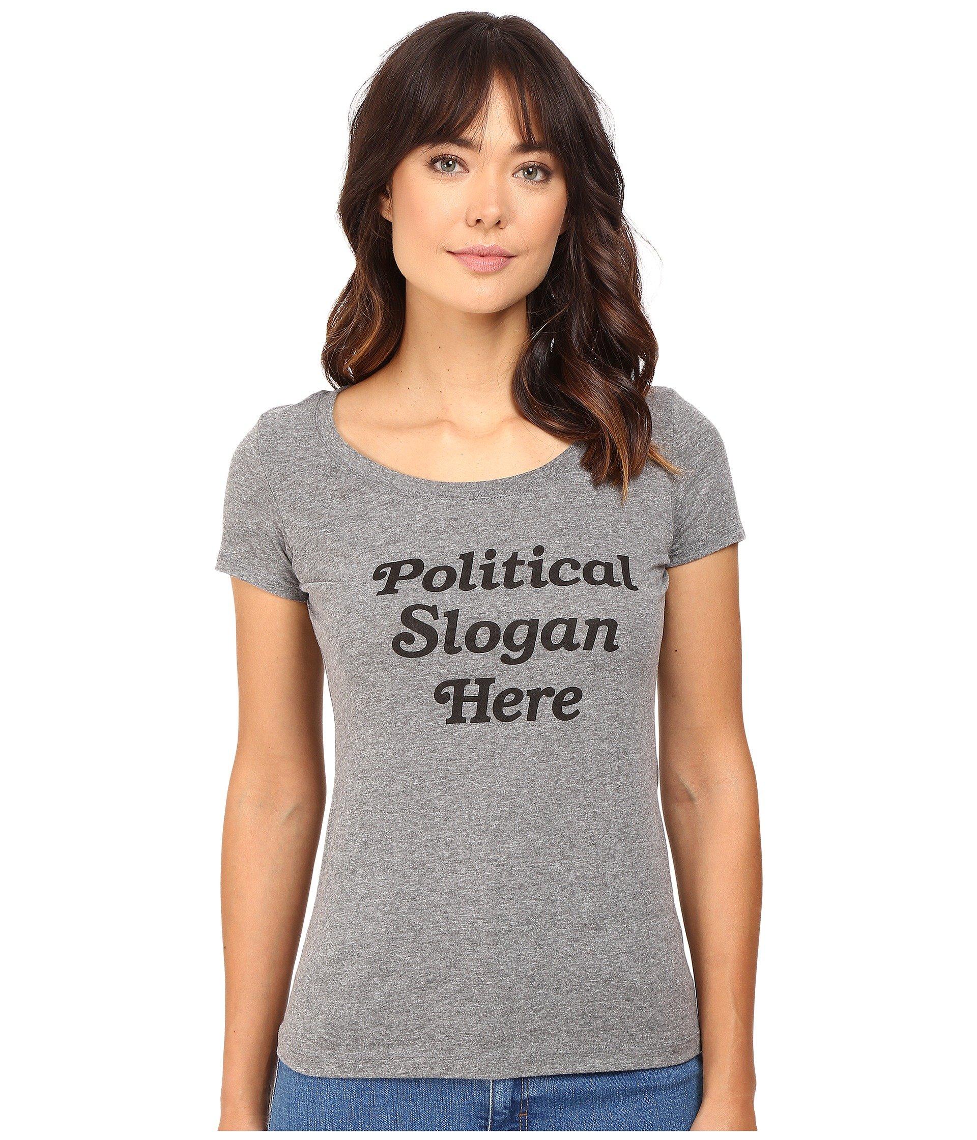 RACHEL ANTONOFF Political Slogan Here Scoop Neck Tee, Heather Grey