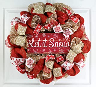Burlap Let It Snow Wreath | Winter Christmas Mesh Front Door Wreath; White Red Brown Jute