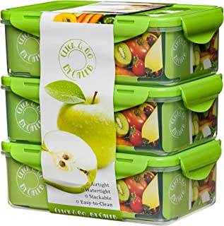 Bento Lunch Box - Set of 3 Boxes -39oz -Meal Prep Containers - BPA Free - Food Control Container- For Adults & Kids -Removable Divider Compartments - Microwave Dishwasher & Freezer Safe - Leak Proof S