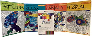 Strokes 36-Piece Colored Pencil Set Bundled with Kick Back & Color Floral, Relax, Patterns & Animals to Music Adult Coloring Book Set (5 Pieces)