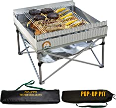 Pop-Up Fire Pit | Portable Outdoor Fire Pit and BBQ Grill | Packs Down Smaller than a Tent | Two Carrying Bags Included | ...