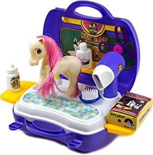 Pet Pony Learning Carrier Toy - Horse Family 16 Pcs