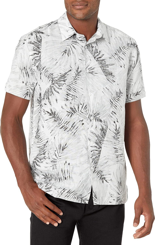 Cubavera Men's Standard Palm Print Linen-Blend Short Sleeve Button-Down Shirt