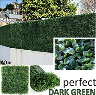 """GENPAR Artificial Boxwood Hedge Covers 33 SQ Feet 12 Panels (20"""" x 20"""") UV Protection 15 Years Life Span Indoor Outdoor Greenery Topiary Home Backyard Garden Decoration Privacy Fence (Dark Green)"""