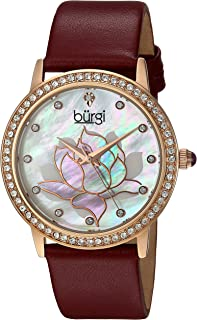 Burgi Swarovski Crystal Encrusted Watch - On Genuine Leather Strap –Mother of Pearl Dial with Mosaic Lotus Flower Design and Crystal Marker Accents – BUR159