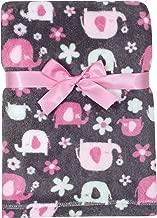 Baby Gear Plush Velboa Ultra Soft Baby Girls Blanket 30 x 40, Pink Elephants