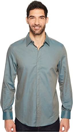Perry Ellis - Long Sleeve Solid Jacquard Shirt