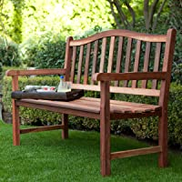 Deals on Belham Living Richmond Curved-Back 4-ft. Outdoor Wood Bench