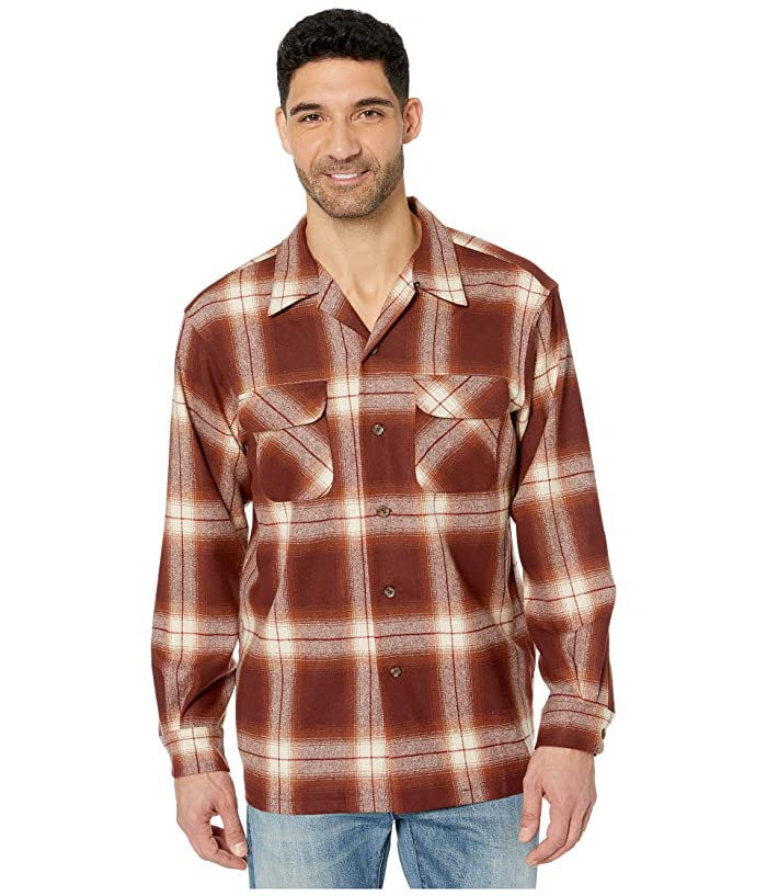 1960s – 70s Mens Shirts- Disco Shirts, Hippie Shirts Pendleton LS Board Shirt RustBrown Ombre Mens Long Sleeve Button Up $97.99 AT vintagedancer.com