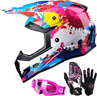 GLX Unisex-Child GX623 DOT Kids Youth ATV Off-Road Dirt Bike Motocross Helmet Gear Combo Gloves Goggles for Boys & Girls (Graffiti Pink, Large)