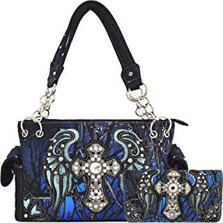 Camouflage Cross Wings Western Style Concealed Carry Purse Country Handbag Women Shoulder Bag Wallet Set