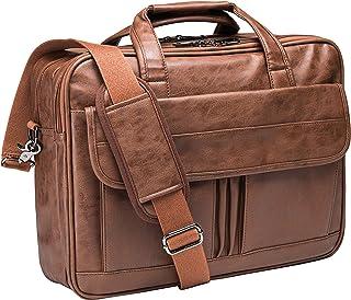Mens Laptop Bag,15.6 Inch Leather Messenger Bag Water Resistant Business Travel Briefcase, Work Computer Bag Satchel Bag Husband Gifts(Brown)