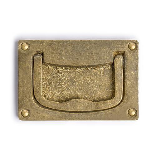 "CBH 2 Flush Chinese Brass Cabinet Hardware Pulls 3.5/"""