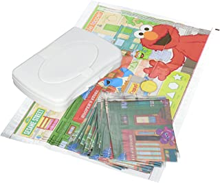 Neat Solutions Sesame Street Table Topper Disposable Stick-on Placemats with Reusable Pop-up Travel Case, 50-Count