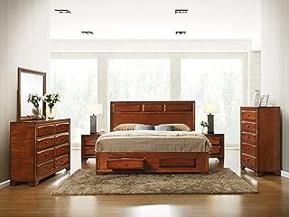 Roundhill Furniture Oakland 139 Wood Bedroom Set, Queen, Antique Oak Finish