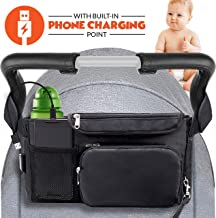 Stroller Organizer: Baby Stroller Travel Organizer Bag with Cup Holder, Phone Charging Point & Detachable Bag| Spacious Insulated Bag for Diapers, Toys, Phone, Snack| Top Baby Shower Gift