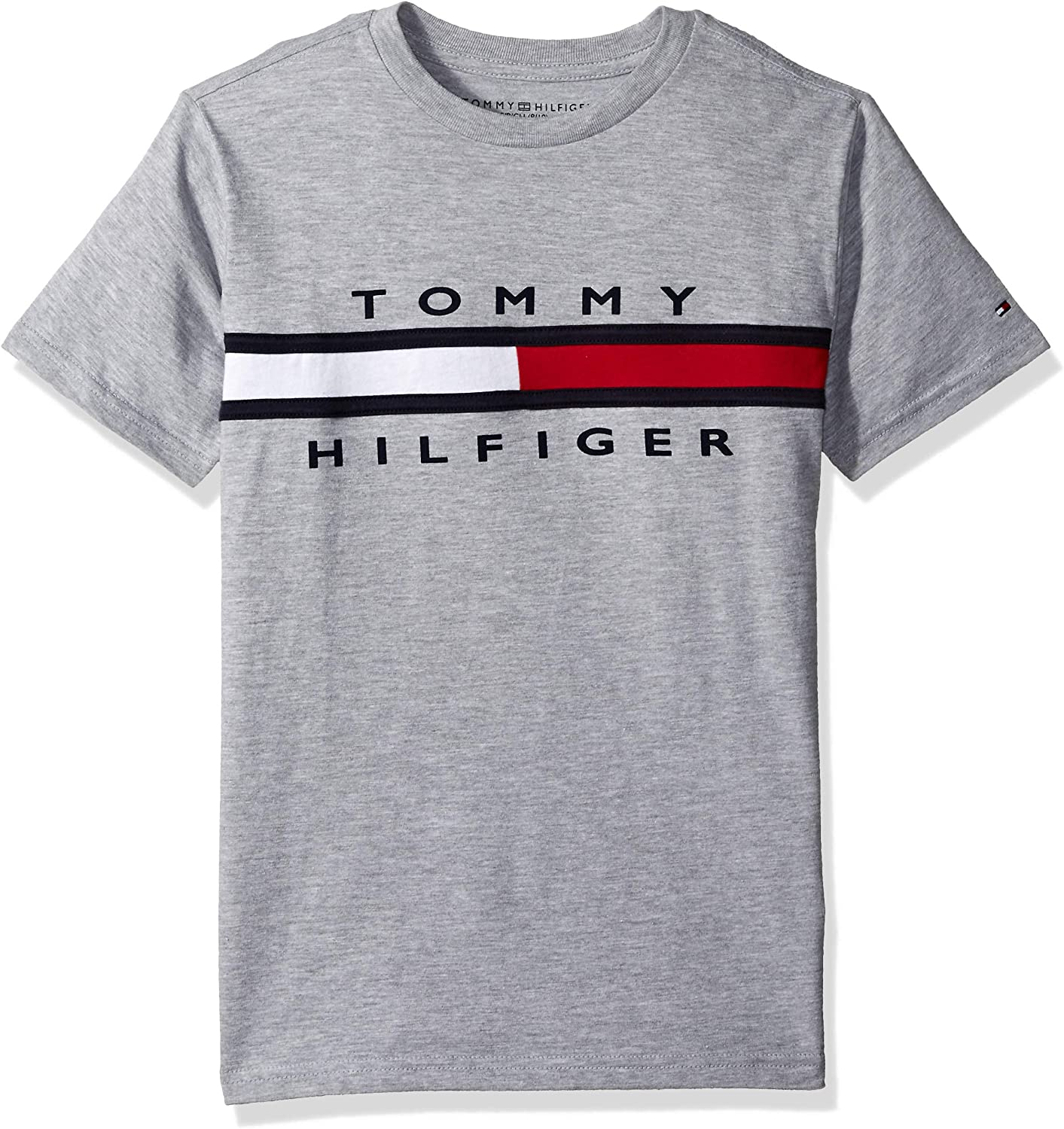 Tommy Hilfiger Boys Short Sleeve Crew-Neck T-Shirt, 100% Cotton, Solid Color with Signature Embroidered Logo