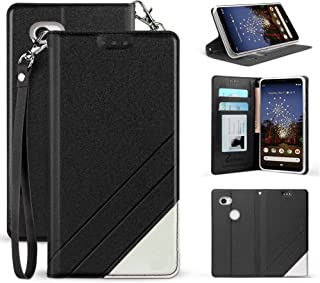 for Google Pixel 3A XL Premium PU Leather Two Tone Flip Folio Credit Card Slot Wallet Case with Detachable Wrist Strap [Magnetic Closure & Free Emoji Keychain] for Pixel 3A XL 6.0