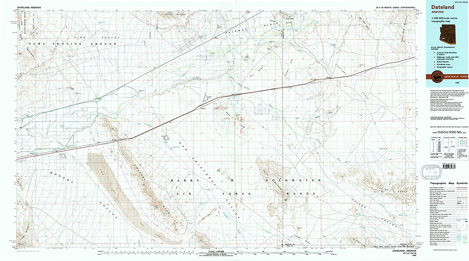 Dateland AZ topo map, 1 100000 Scale, 30 X 60 Minute, Historical, 1980, Updated 1996, 24.1 x 43.5 in