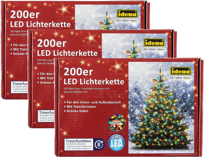 Idena LED Lichterkette für innen auen (200 LEDs, bunt, 3)