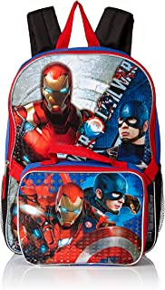 Boys' Civil War Captain Vs. Ironman Backpack with Lunch Kit, Blue/black